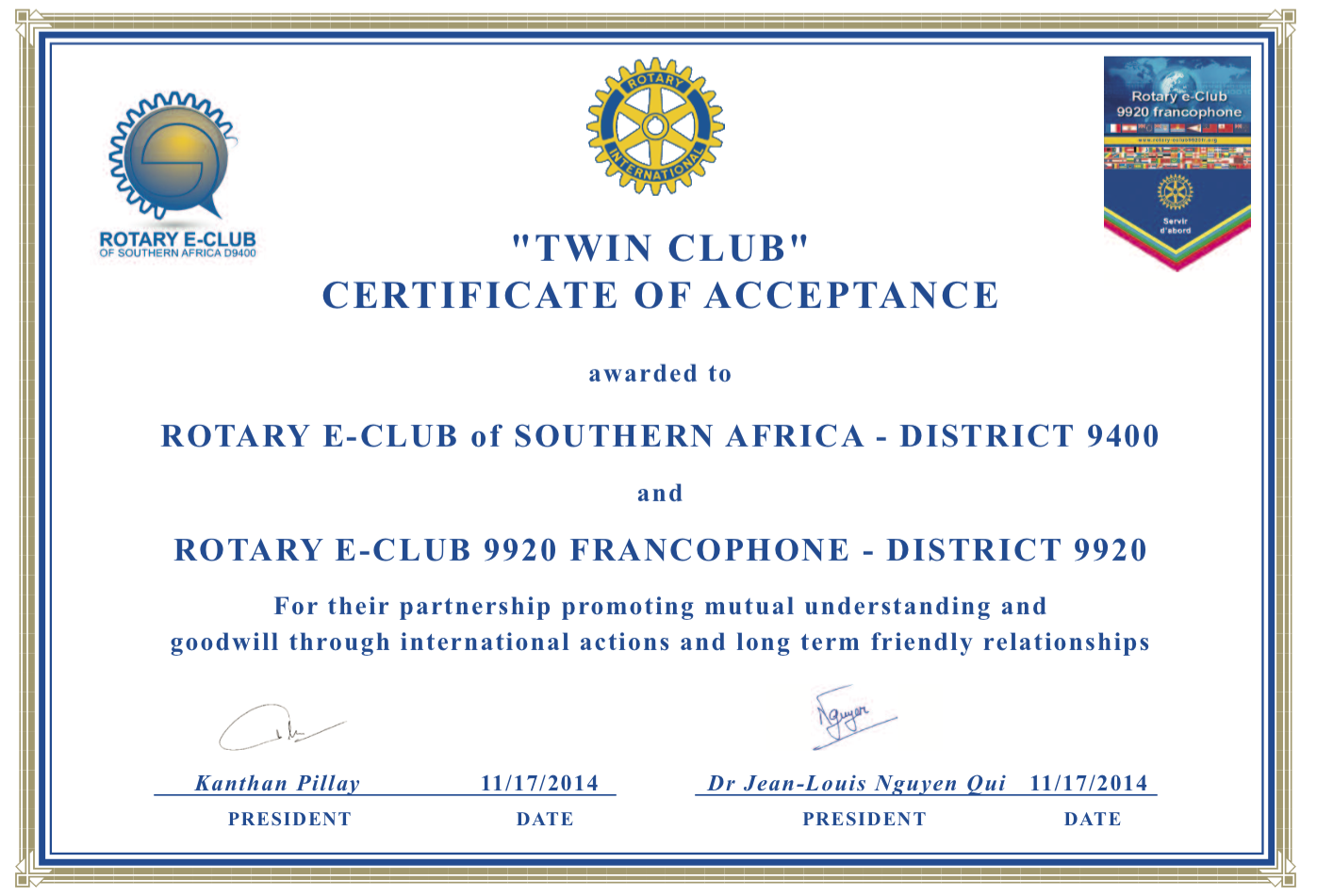 Rotary E-Club of Southern Africa D9400 - Certificate TWIN CLUBS ...